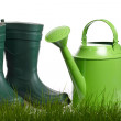Spring gardening - Watering can, grass and garden tools on white — Stock Photo