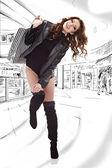 Mulher bonita de compra em um shopping de sorteio — Foto Stock