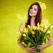 Beautiful spring woman portrait. green concept — Stock Photo #9460307