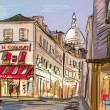 Stock Photo: Street in paris - illustration