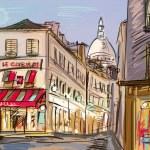 Street in paris - illustration — Stock Photo #9460340