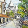 Street in paris - illustration - 图库照片