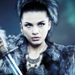 Warrior woman. Fantasy fashion idea. — Stock Photo #9587665