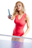 Sexy Sports girl plays table tennis — Stock Photo