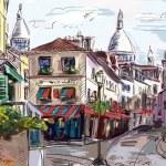Street in paris - illustration — Stock Photo
