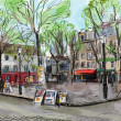 Street in paris - illustration - Stok fotoraf