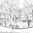 Street in paris - illustration - Foto Stock