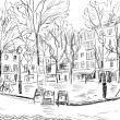 Street in paris - illustration - Stock fotografie