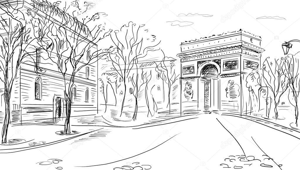 手绘矢量插画的巴黎凯旋门-grunge