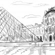 Louvre Palace in Paris, France - illustration - Stock Photo