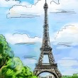 Parisian streets -Eiffel Tower illustration - 图库照片