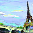 Parisian streets -Eiffel Tower illustration — Stock Photo