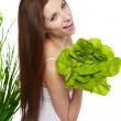Woman with salad isolated on white — Stock Photo #9783748