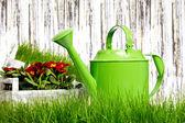 Ferramentas de jardim e regador com capim branco — Fotografia Stock
