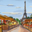 Paris street - illustration - Stock Photo