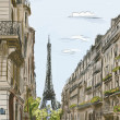 Stock Photo: Paris street - illustration