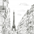 Paris street - illustration — Stock Photo