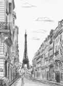 Paris street - illustration — Stock Photo