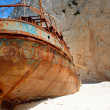 Navagio beach with ship-wreck in Zakynthos, Greece - Stock Photo