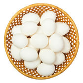 White eggs in the basket — Stock Photo
