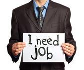 Empresario la necesidad de trabajo — Foto de Stock
