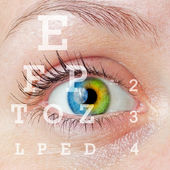 Eye with test — Stock Photo