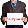 "Stock Photo: Mwith sign that says ""unemployed"""