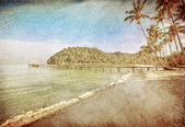 Exotic tropical beach in retro style — Photo