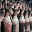 Old wine bottles covered with dust — Stock Photo