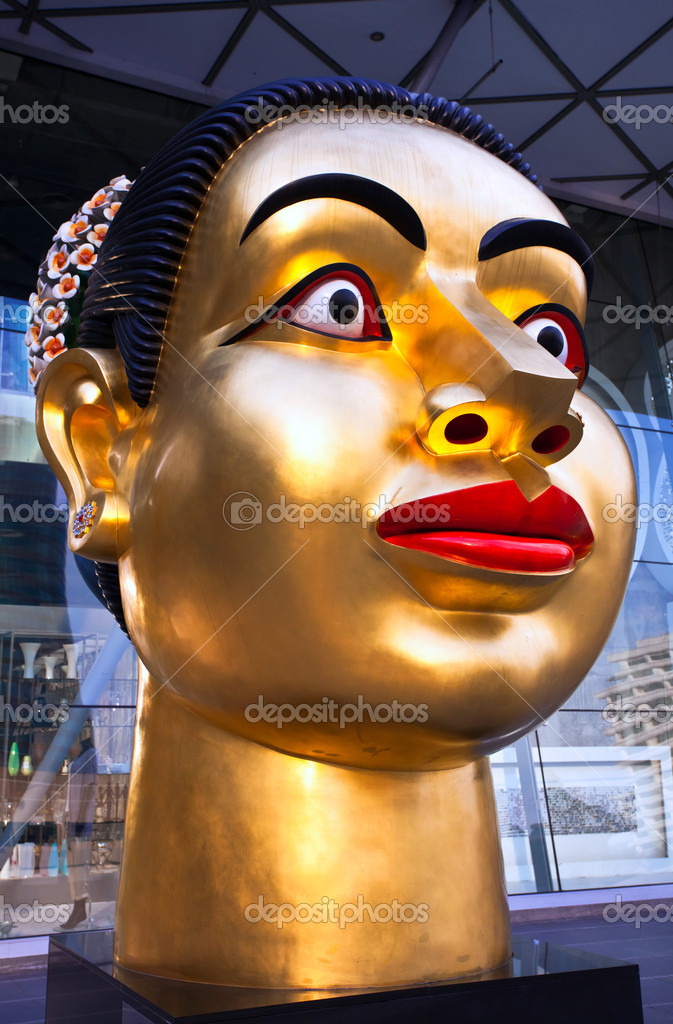 Sculpture of Indian woman's head, dedicated to the 80th Birthday of His Majesty King Bhumibol Adulyadej on 25 November 2009 from India-Thai chamber of commerce, Bangkok  — Stock Photo #8299180