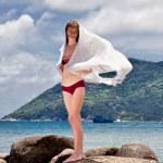 Woman with white sarong — Stock Photo