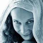 Girl in white shawl — Stock Photo