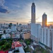 Stock Photo: view on the sunrise city and bayok sky hotel of bangkok