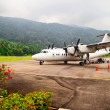 Plane at the airport on the island of Tioman. Malaysia — Stock Photo