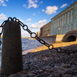 View with chain on Neva river. St.Petersburg — Stock Photo