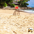 Soccer balls on sand — Stock Photo