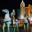 Models of knights on horseback of Excalibur Hotel&Casino against — Stock Photo