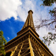 View of replica of the Eiffel Tower and classic French architect — Stock Photo