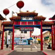 Early in the morning in the colorful Chinatown  in Los Angeles — Stock Photo