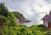 Tropikalną laguną w ponure niebo — Zdjęcie stockowe