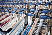 Row of luggage carts — Stock Photo