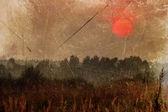 Grunge image of field under sunset sky — Stock Photo