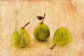 Fresh apple and pears in grunge and retro style. — Stock Photo
