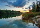 Sunset near the summer lake — Stock Photo