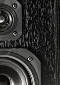Black hi-fi sound speakers — 图库照片