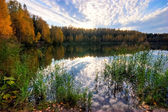 Autumnal lake near the forest — Stock Photo