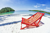 Sun beach chair at the beach — Stockfoto