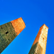 Garisenda and Asinelli leaning towers. Italy - Stockfoto