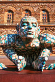 FLORENCE, ITALY - JUNE 28: Abstract puzzling sculpture of man cr — Stock Photo