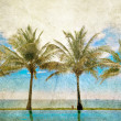 Reflections of palms in the pool — Stock Photo